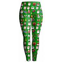 Рождественский Санта-Клаус Печать Упругие женские штаны для ножек XL