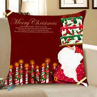 Санта-Клаус Торт И Свечи Печатных Бросок Наволочка ширина 12 дюймов * длина 20 дюйма