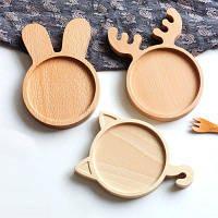 Lovely Rabbit Style Деревянная тарелка Креативная закуска 1PC Олень