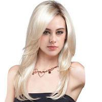 Длинный боковое разделение Colormix Слоистый прямой синтетический парик Цвет градиента