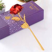 Золотая фольга позолоченная яркая искусственная роза Красный