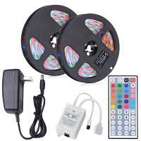 HML 2pcs x 5M 24W водонепроницаемый RGB 2835 300 LED полосы света с IR 44 ключей пульт дистанционного управления+ адаптер (США Plug) RGB