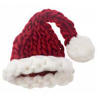 Рождественская длинная хвостовая форма Ручная трикотажная шляпа Красный
