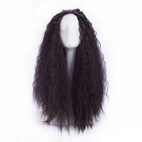 70 см длинный волнистый кудрявый натуральный черный высококачественный синтетический парик для волос Cosplay для вечеринки Чёрный