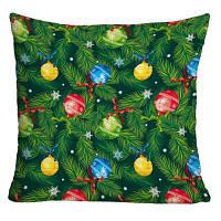 Рождественские сосновые ветви Висячие шары Печать Декоративная наволочка W18 дюймов * L18 дюймов