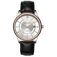 Sanda 204 Мужские наручные часы повседневные стильные с кожаным ремешком черный+белый