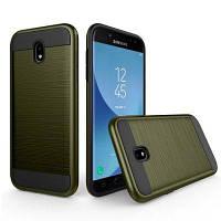 Металлический Wiredrawing Мягкий TPU Гибридный ударопрочный корпус для Samsung Galaxy J3 Армейский Зеленый