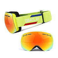 OBAOLAY H008 Unisex Безрамная панорамная двойная палуба противотуманные лыжные очки флуоресцентный