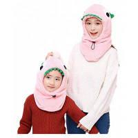 Новинка Зима Теплый головной убор для животных Родитель-ребенок Hat 2PCS Розовый