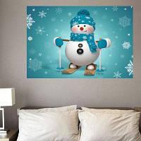 Лыжный снеговик шаблон Симпатичные настенные стикеры ширина 20 дюймов * длина 27.5 дюймов