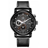 Новые 2017 CADISEN Топ Мужские кварцевые часы Подлинная кожа Горячая мода Водные виды спорта Роскошный бренд Водонепроницаемый Черный и оранжевый