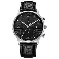 Мужские часы CADISEN Лучшие бренды Luxury Fashion Business Кварцевые часы Спортивные кожаные водонепроницаемые наручные часы черный+серебристый