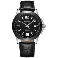Часы Cadizen Classic Men AUTO Автоматические автоматические механические часы Аналоговые скелеты Черные кожаные черные керамические наручные часы