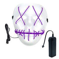 BRELONG хэллоуинская призрачная щель удовольствие светящийся свет EL линия маска мода маска одежда маска партии Фиолетовый