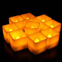 Беспламенное пластичное реалистичное квадратное свечка СИД 12PCS Белый