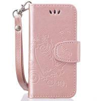 На главную Отказ от ответственности Сердечный цветок Кошелек Кожаный поднос сотовый телефон Обложка с магнитом для iPhone 5 / 5S / SE Розовый золотой
