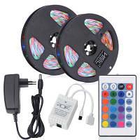 HML 2шт х 5м 24W водонепроницаемая RGB 2835 SMD 300 LED световая полоса с 24кн ИК пультом дистанционного управления+DC адаптер (EU вилка) RGB