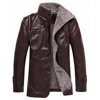 Зима Толстая кожаная одежда Повседневная Флокировка Теплые одежды Мужская куртка