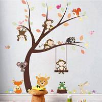 Лесной животный мультфильм обезьяна стены стикер для детей украшения комнаты 2PCS Цветной