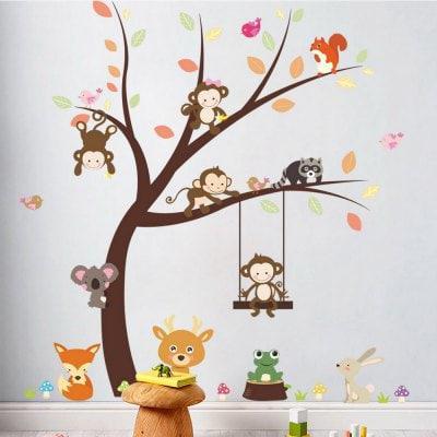 Лесной животный мультфильм обезьяна стены стикер для детей украшения комнаты 2PCS Цветной - ➊ТопШоп ➠ Товары из Китая с бесплатной доставкой в Украину! в Киеве
