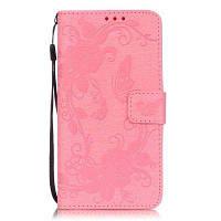 Тисненый-Бабочка Цветочный PU телефон Чехол для Samsung Galaxy Grand Prime G530 Розовый