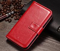 Кожаный чехол-книжка для iPhone 4 4S красный