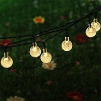20 светодиодных шаров солнечных рождественских декоративных огней Домашнее украшение Тёпло-белый
