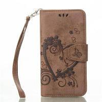 На главную Отказ от ответственности Сердечный цветок Кошелек Кожаный поднос сотовый телефон Обложка с магнитом для Samsung Galaxy S6 Коричневый