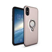 Амортизатор Dual Cover Design Phone Ring Holder Защитный чехол для iPhone с защитой от царапин для iPhone X Розовый золотой