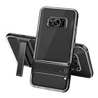 Противоударный с подставкой Прозрачная задняя обложка Жесткий чехол для Samsung Galaxy S8 Plus Чёрный