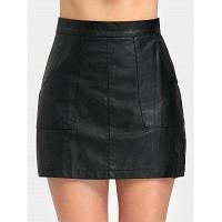 Мини-ПУ кожаная юбка с карманом XL
