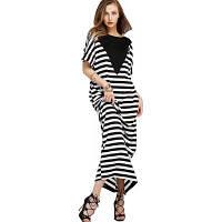 Новое европейское и американское полосатое повседневное платье с коротким рукавом XL