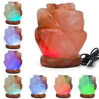 YouOKLight YK2298 3Вт 5В Гималайская кристаллическая соляная лампа в форме цветки с USB-кабелем и ручной резьбой ночник 1шт RGB