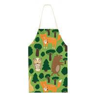 Кухонные льняные фартуки Мультфильм Лесные животные Кухонные принадлежности Цветной