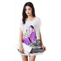 Мода женщин большой размер шелковой полосой печатной цветной бабочки с короткими рукавами футболки