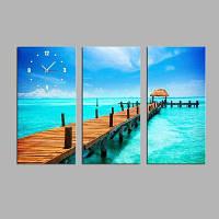 Э-домашний освежающий вид на море холст фотообои Настенные часы 3шт Цветной