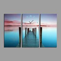 E-дома оформлена тихое озеро холст фотообои Настенные часы 3шт Цветной