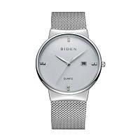 BIDEN 0047 4810 Fashion Calendar Мужская стальная сетка с часами с коробкой Белый