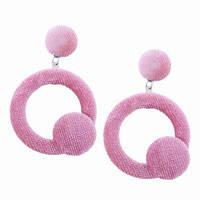 Корейский стиль моды дизайн круг подвеска Длинные серьги падения серьги ювелирные изделия Розовый