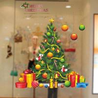 Виниловая съемная творческая наклейка на стену с узором рождественской елки Цветной