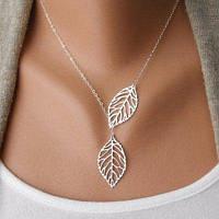 Мода Красивое золото / серебро Двойные листы ожерелье Уникальный лучший подарок 18,5 см