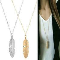 Модные женские ювелирные изделия перо подвеска цепи ожерелье длинный свитер цепи заявление ювелирные изделия Серебристый