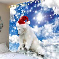 Рождество Полярный Медведь Отпечатано Водонепроницаемый Настенный Гобелен ширина59дюймов*длина51дюйм