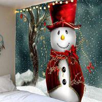 Снеговик Маг Печатных Водонепроницаемый Настенный Гобелен ширина59дюймов*длина51дюйм