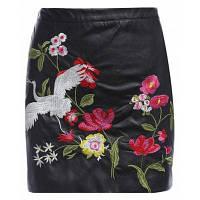 Цветочные вышивки юбки Ретро высокой талии юбка Feminino юбки Женщины 2017 Мода Назад молния Мини Кожаная юбка S
