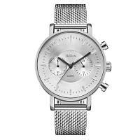 BIDEN 0056-2 4817 Часы из стали с металлической сеткой с коробкой Серебристый