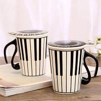 Керамическая кружка чашка с крышкой для кофе чая Шаблон фортепианной клавиатуры