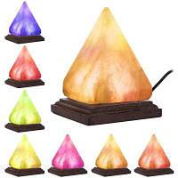 YouOKLight 3W 5V Красочный треугольник ручной резной ночной свет USB деревянная база Гималайская соляная лампа 1PC Разноцветный