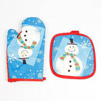 Рождественский Снеговик шаблон Варочная печь перчатки и коврик Синий