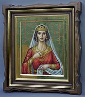 Киот для иконы Святой Вирсавии фигурный, с внутренней деревянной рамой и золочеными штапиками., фото 1